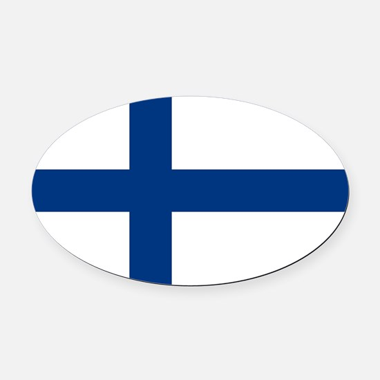 Finland/Suomi Flag Oval Car Magnet