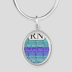 RN case blue Silver Oval Necklace