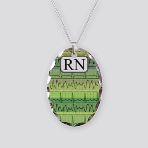 RN case green Necklace Oval Charm