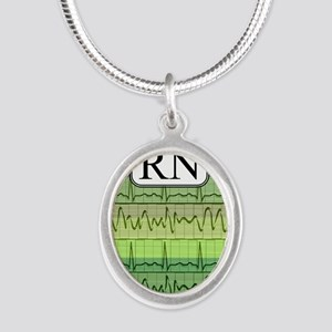 RN case green Silver Oval Necklace