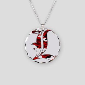 L Camo Necklace Circle Charm