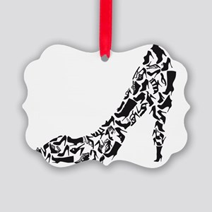 black heart with shoe silhouettes Picture Ornament