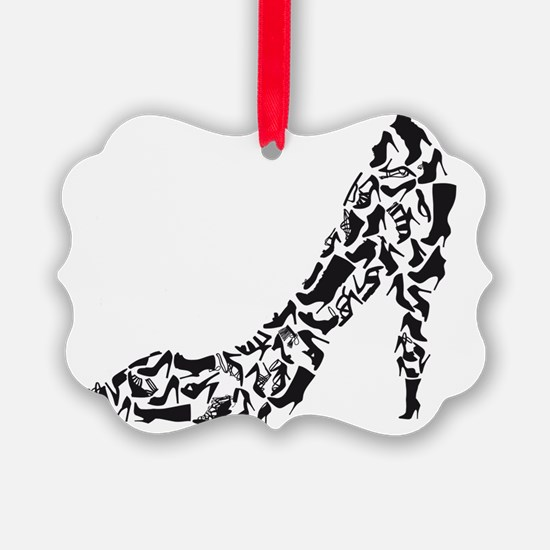 black heart with shoe silhouettes Ornament