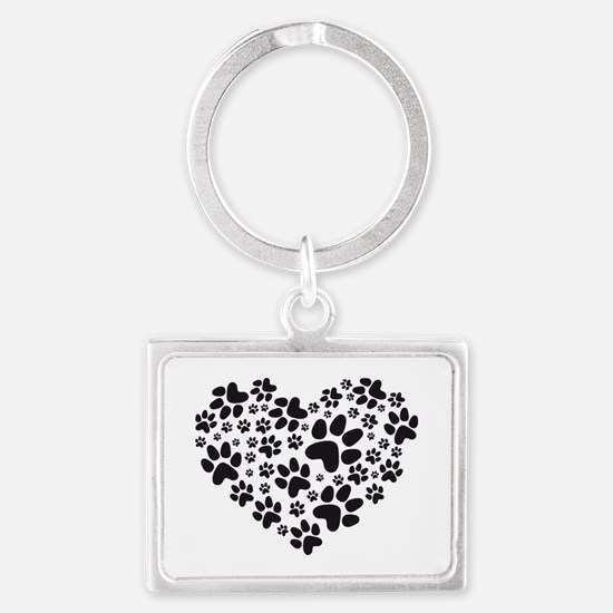 black heart with paws, animal f Landscape Keychain