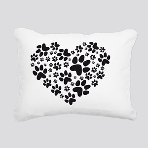 black heart with paws, a Rectangular Canvas Pillow