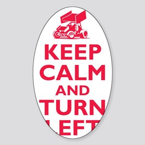 Keep Calm and Turn Left Sticker (Oval)