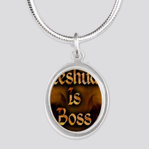 Yeshua is Boss  Silver Oval Necklace