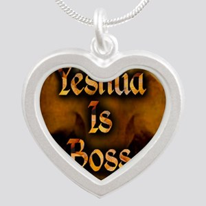 Yeshua is Boss  Silver Heart Necklace
