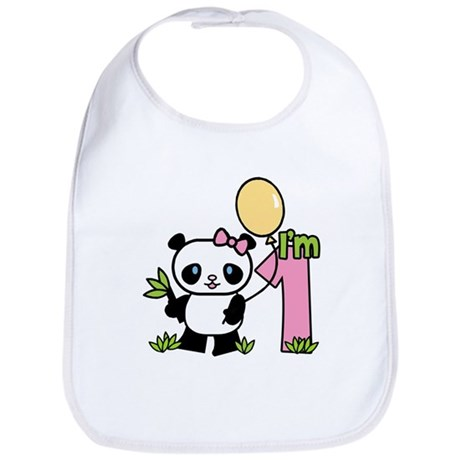 Lil' Panda Girl First Birthday Bib
