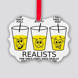 Glass Half Full Empty Pee Funny T Picture Ornament