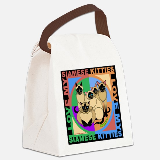 Many Siamese Kitties Cat Graphics Canvas Lunch Bag