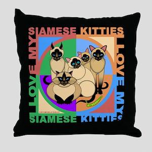 Many Siamese Kitties Cat Graphics Throw Pillow