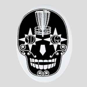 Sugar Skull Catcher - Birdshot Disc  Oval Ornament