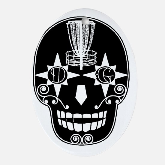 Sugar Skull Catcher - Birdshot Disc  Oval Ornament