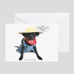 Black Lab Farmer Greeting Cards (Pk of 10)