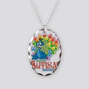 Autism Peacock Necklace Oval Charm