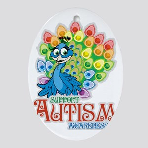 Autism Peacock Oval Ornament