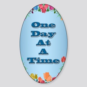 One Day At A Time Card Sticker (Oval)