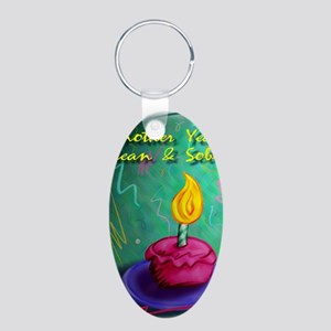 Another Year Clean and Sobe Aluminum Oval Keychain