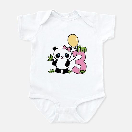 Lil' Panda Girl 3rd Birthday Infant Bodysuit
