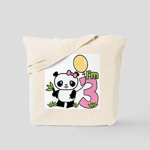 Lil' Panda Girl 3rd Birthday Tote Bag