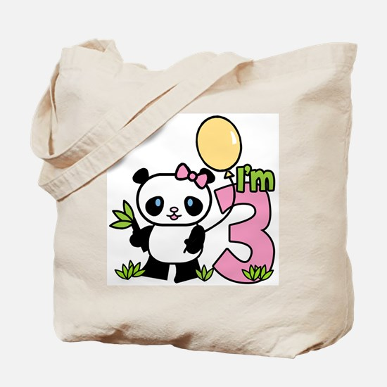 Lil' Panda Girl 3rd Birthday Tote Bag