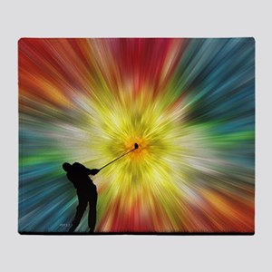 Tie Dye Silhouette Golfer Throw Blanket