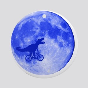 TRex Moon Round Ornament