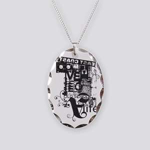 EAST COAST BLACK Necklace Oval Charm