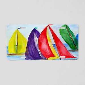 Colorful Regatta Sails Aluminum License Plate