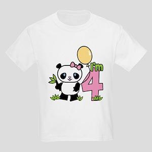 Lil' Panda Girl 4th Birthday Kids Light T-Shirt