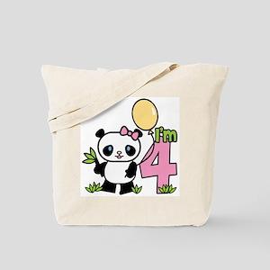 Lil' Panda Girl 4th Birthday Tote Bag