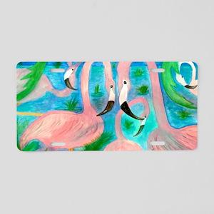 Flamingo party Aluminum License Plate