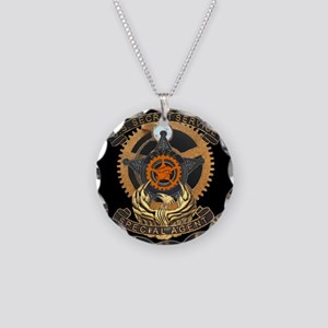 Steampunk Secret Service Bad Necklace Circle Charm