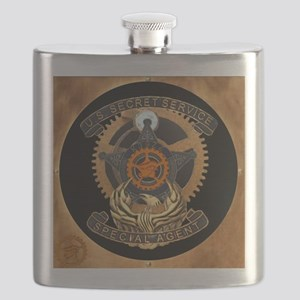 Steampunk Secret Service Badge Flask