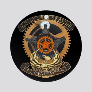 Steampunk Secret Service Badge Round Ornament