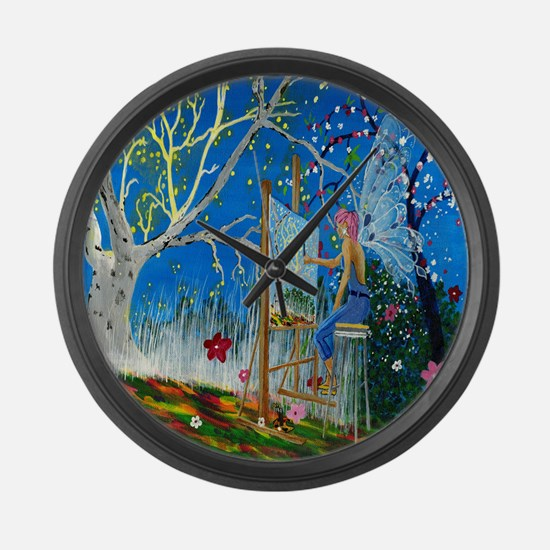 Fairy Artist Large Wall Clock