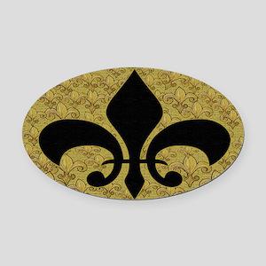 Fleur de lis bling black and gold Oval Car Magnet