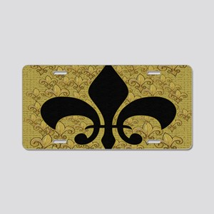 Fleur de lis bling black an Aluminum License Plate