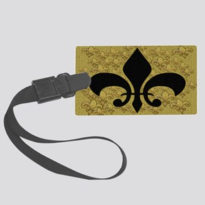 Fleur de lis bling black and gol Large Luggage Tag