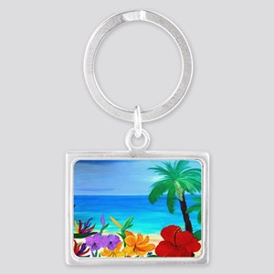 Tropical Beach Landscape Keychain