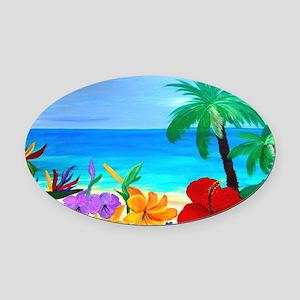 Tropical Beach Oval Car Magnet