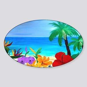 Tropical Beach Sticker (Oval)