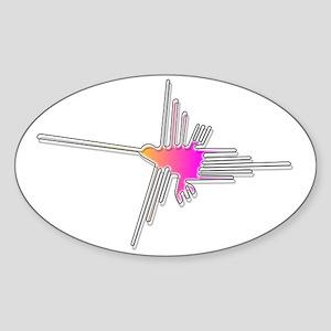 Nazca Lines Hummingbird Sticker (Oval)