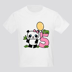 Lil' Panda Girl 5th Birthday Kids Light T-Shirt