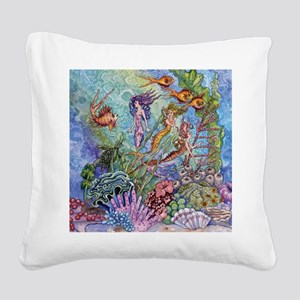 Mermaid Shower! Square Canvas Pillow