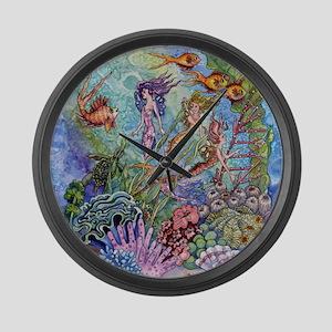 Mermaid Shower! Large Wall Clock
