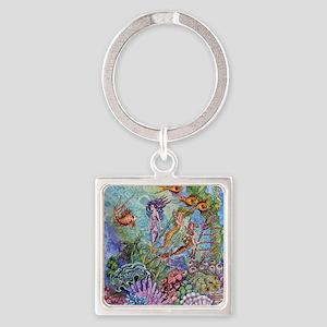 Mermaid Shower! Square Keychain