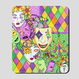Too Much Fun Mardi Gras Masks Mousepad
