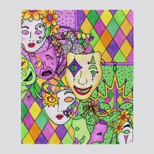 Too Much Fun Mardi Gras Masks Throw Blanket